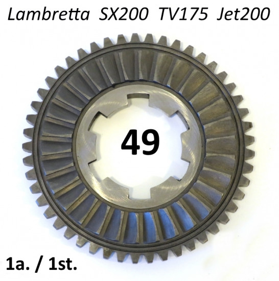 Italian made 49 tooth 1st gear cog for Lambretta SX200 + TV175 + Jet200