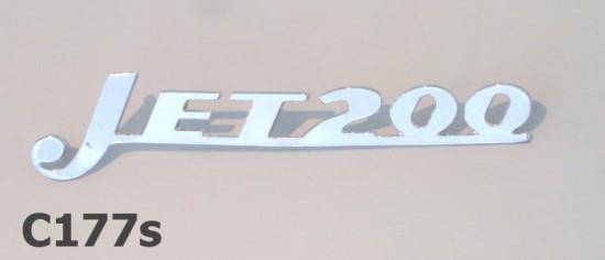 'Jet 200' chromed front legshield badge for Serveta Jet200