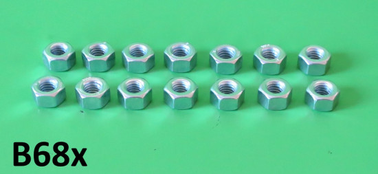 Set of 14 x 6mm 'deep' plain nuts (10mm spanner size) for engine sidecasing cover