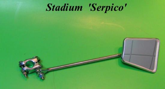 "Complete Stadium 70's 'Serpico' style mirror + 13"" stem + chromed crashbar clamp"
