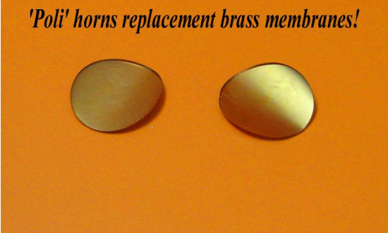 Original brass membrane plates for Poli horns (pair)