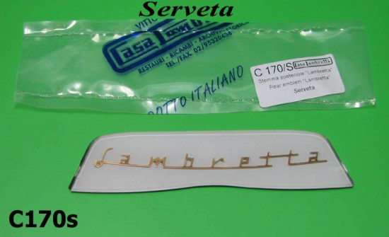 Serveta 'Lambretta' rear frame badge (white)