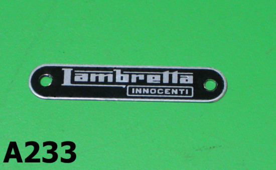 'Lambretta Innocenti' seat badge for Lambretta SX '68 + J50 Deluxe