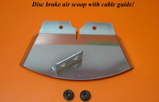 Front disc brake air scoop with speedo and frontbrake outer cable guide