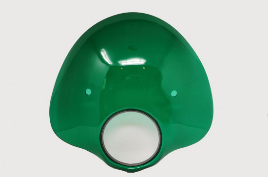 Green 'Bubble' flyscreen with full bracket set for Lambretta S3 (+ adapt. for S2)