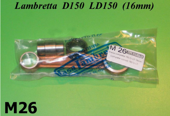 Complete conrod kit 16mm gudgeon pin Lambretta D + LD 150cc