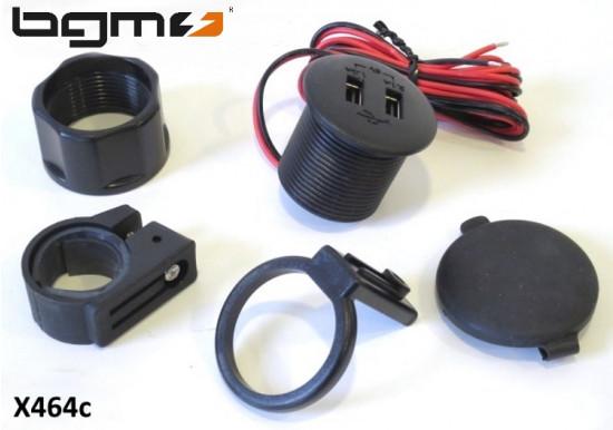 Caricatore USB BGM Pro due porte impermeabile (12V CC a 5V CC / 3.1A)