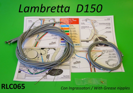NEW!!! Complete cable set WITH GREASE NIPPLES for Lambretta D150