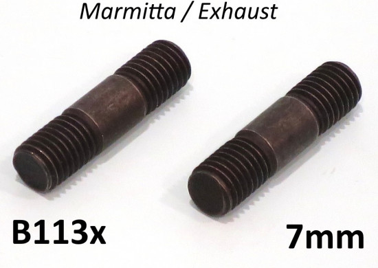 Pair of 7mm exhaust manifold studs (for cylinder)