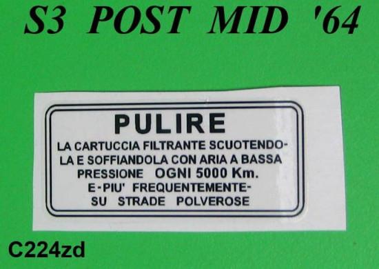 S3 air filter sticker (Italian)