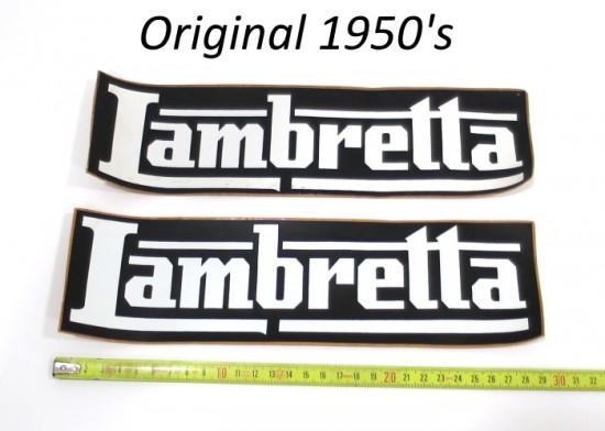 Pair of large original Lambretta dealers stickers