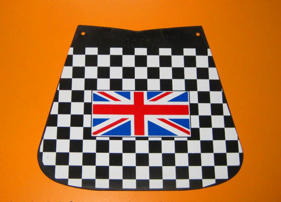 Chequered rear mudflap with British flag