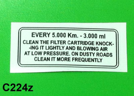 S3 air filter sticker (English)