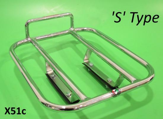 Rear 'S' Type style carrier for Lambretta S3 + GP DL + Serveta (chrome)