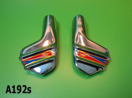 Coppia accessori cromati forcella tipo SUPER per Lambretta S1 S2 S3 GP DL Serveta