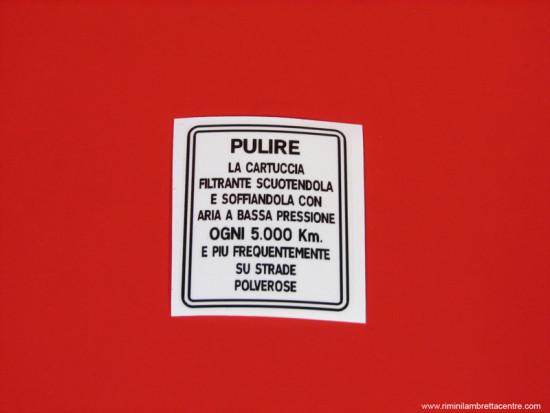 air filter sticker (Italian)