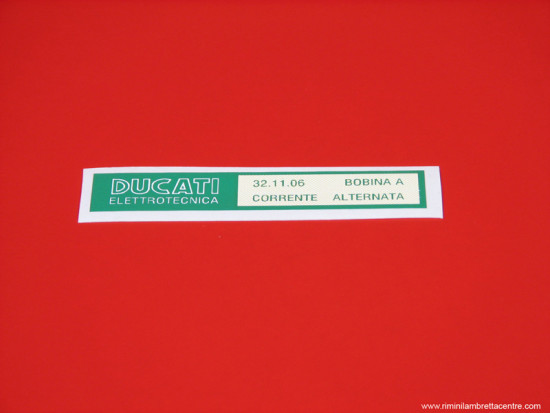 'Ducati' sticker for H.T. coil