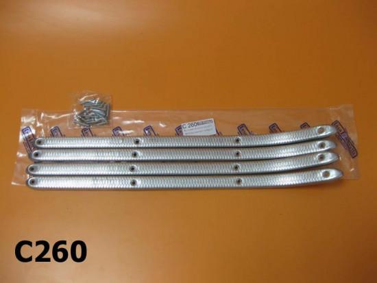 Complete aluminium floor runner set + fasteners for Lambretta Model D