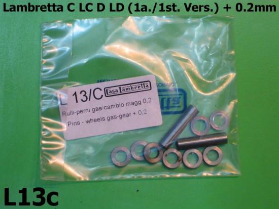 Handlebar Teleflex pins and rollers set oversized +0.2mm Lambretta C + LC + D + LD