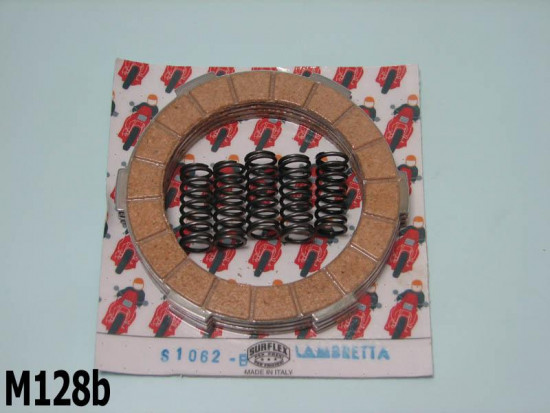 Surflex 4 clutch plates set + springs Lambretta S1 + S2 + S3 + SX + DL/GP