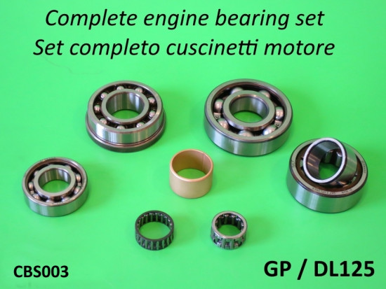 Complete high quality engine bearing set for Lambretta GP / DL125