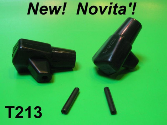 Pair of black rubber stand feet & pins NEW HARDER RUBBER!