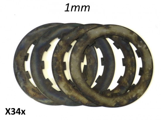 Set of Italian made 4 x 1mm thick (treated) steel discs for competition 5 plate clutches