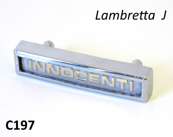 Innocenti front legshield badge for Lambretta J50 + Cento + J125 3 speed models