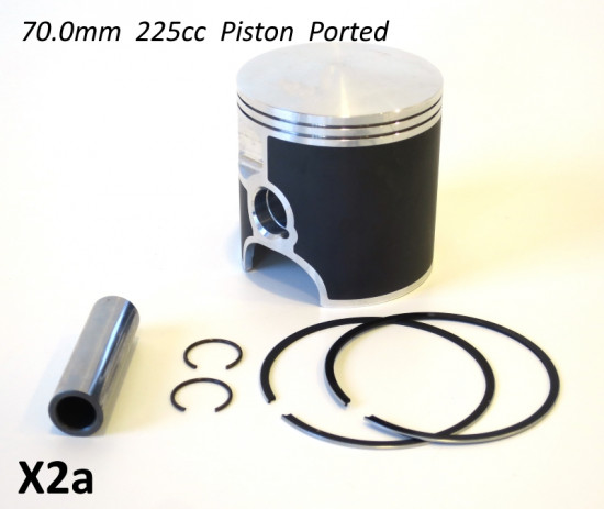 MEGA OFFER! Complete high quality FORGED 70.0mm Lambretta 225cc piston (for NON reed valve engines)