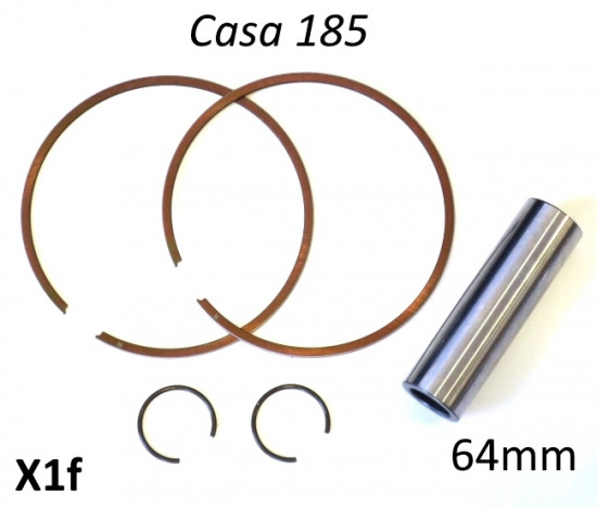 Set of 2 x piston rings + gudgeon pin + pair of circlips for Casa 185 piston (64mm)