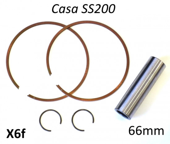 Set of 2 x piston rings + gudgeon pin + pair of circlips for Casa Performance SS200 piston (66mm)