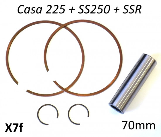 Set of 2 x piston rings + gudgeon pin + pair of circlips for Casa SS225 + SS250 + SSR/T (70.0mm)