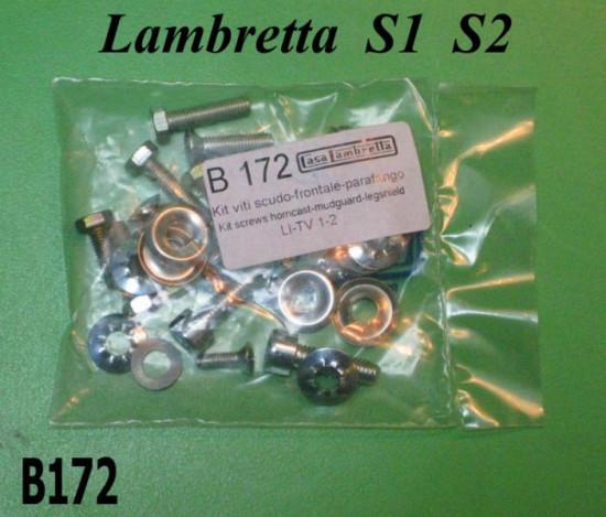 Mudguard + legshield + horncast screw set Lambretta S1 + TV1 + S2 + TV2