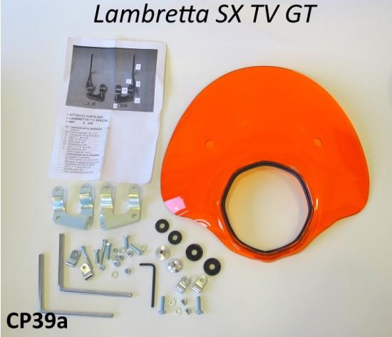Orange 'Bubble' flyscreen (complete with full bracket set) for Lambretta Lambretta SX - Special - TV