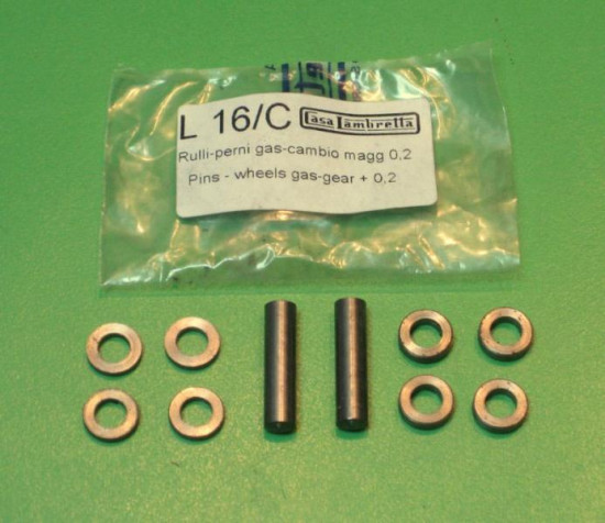Handlebar Teleflex  gearchange & throttle control pins and rollers set (+0.2mm oversized)