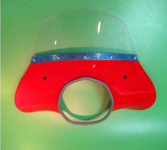 Red 'Classic' model flyscreen for Lambretta SX+ TV+ GT+ Special +Serveta (+ bracket set)