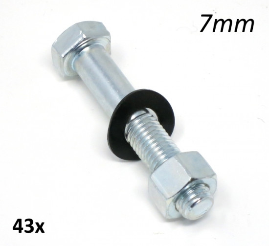 Complete 7mm bolt + nut + washer kit for kickstart pedal lever