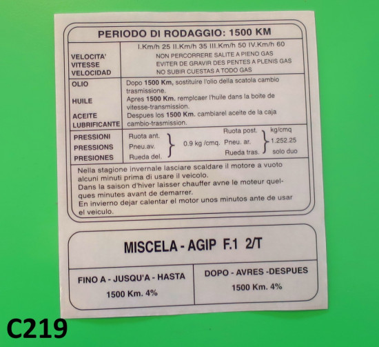 Running In sticker (Italian) for Lambretta TV175 S3 + SX200