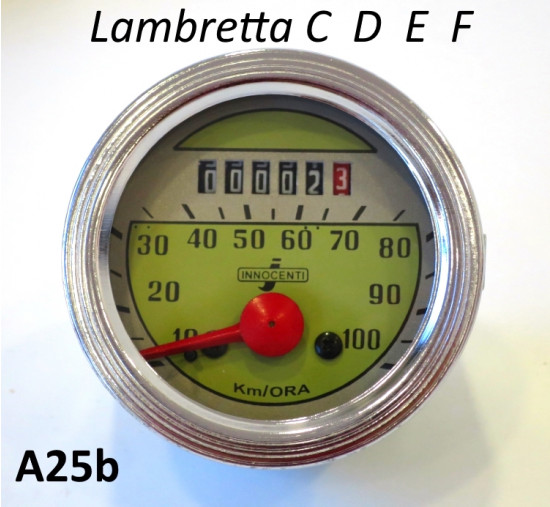 100km speedometer for early Lambretta models