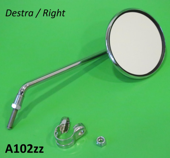 RIGHT hand round MEDIUM length stemmed mirror (with round bar clamp)