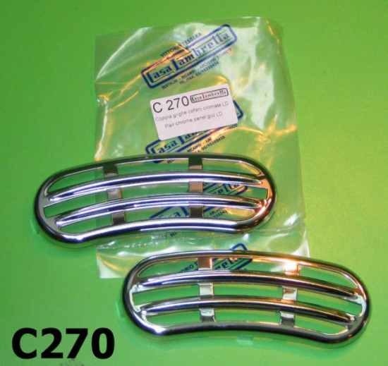 Coppia griglie cromate per cofani Lambretta  LD ('56 '57)