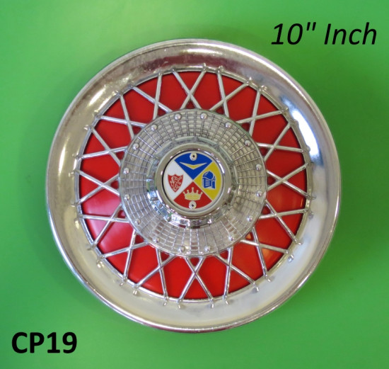 Accessory chrome + red 10 inch spare wheel disc