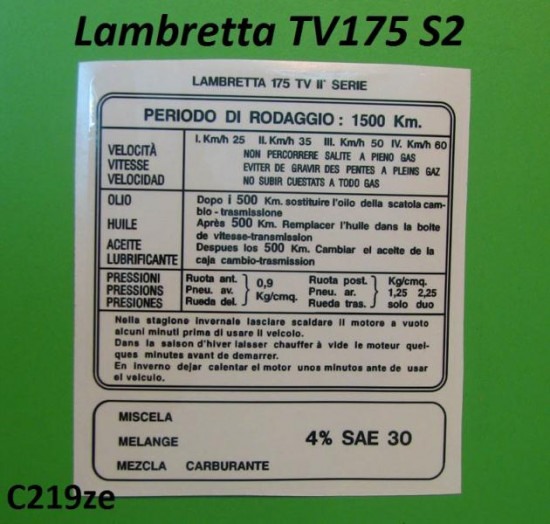 CORRECT TV175 S2 Running In sticker (Italian)
