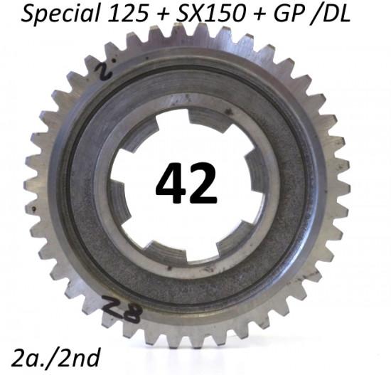 42T 2nd gear cog for Lambretta Special 125 + SX150 + GP / DL 125-150-200