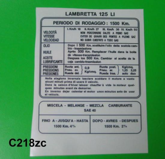 LI125 S3 running in sticker (Italian)