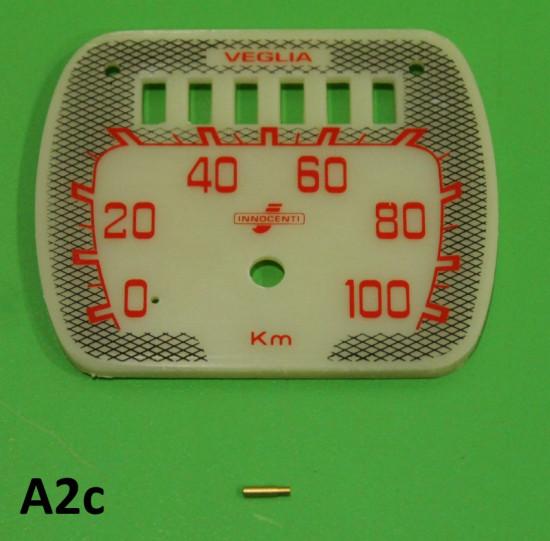 Rectangular speedo face + pin for Lambretta LD150 '57