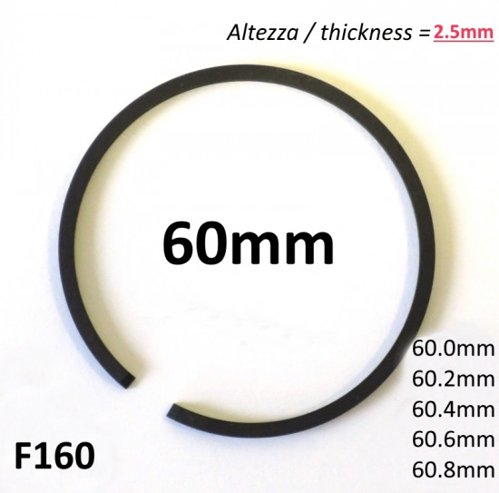 60mm (2.5mm thick) high quality original type piston ring + all oversizes