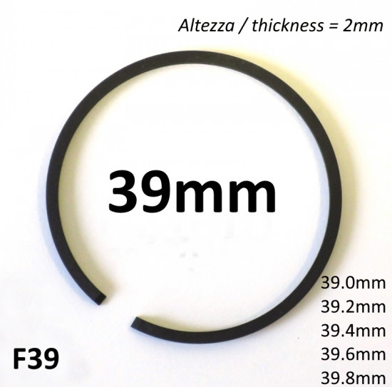 39.0mm (2.0mm thick) high quality original type piston ring + all oversizes