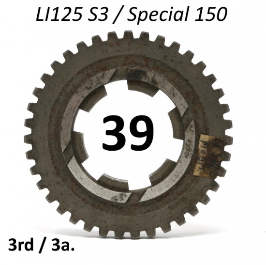39T 3rd gear cog for Lambretta LI125 (late prod.) + Special 150 Pacemaker LATER MODIFIED TYPE