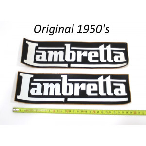 Pair of large original Lambretta dealers stickers